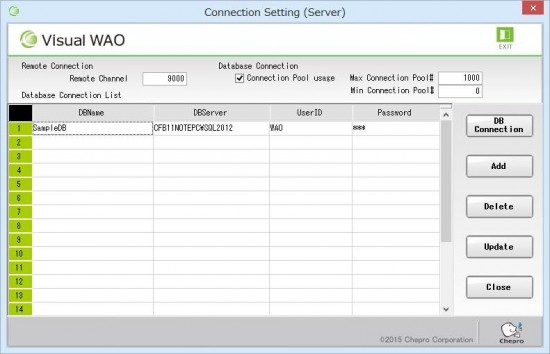 19_Connection setting (server) screen is displayed